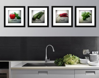 The crop, 4 square Photos, Tomato, Zucchini, Peppers, Basil, Vegetable Still Life Print on paper Fine Arts, Photo Nature,