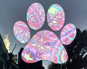 Lily Pulitzer inspired paw print decals