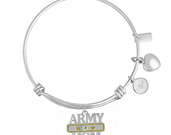 Charm Bracelet With Heart And Army Mom Charm With Personalized Birthstone In Brass