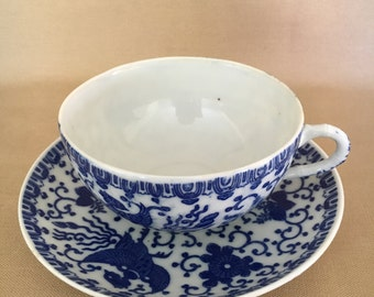 Blue and White Japanese Tea Cup