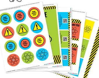 Science Party - Invitation & Decorations Kit - Printable Mad Scientist Birthday Party Package - Instant Download - Editable Text