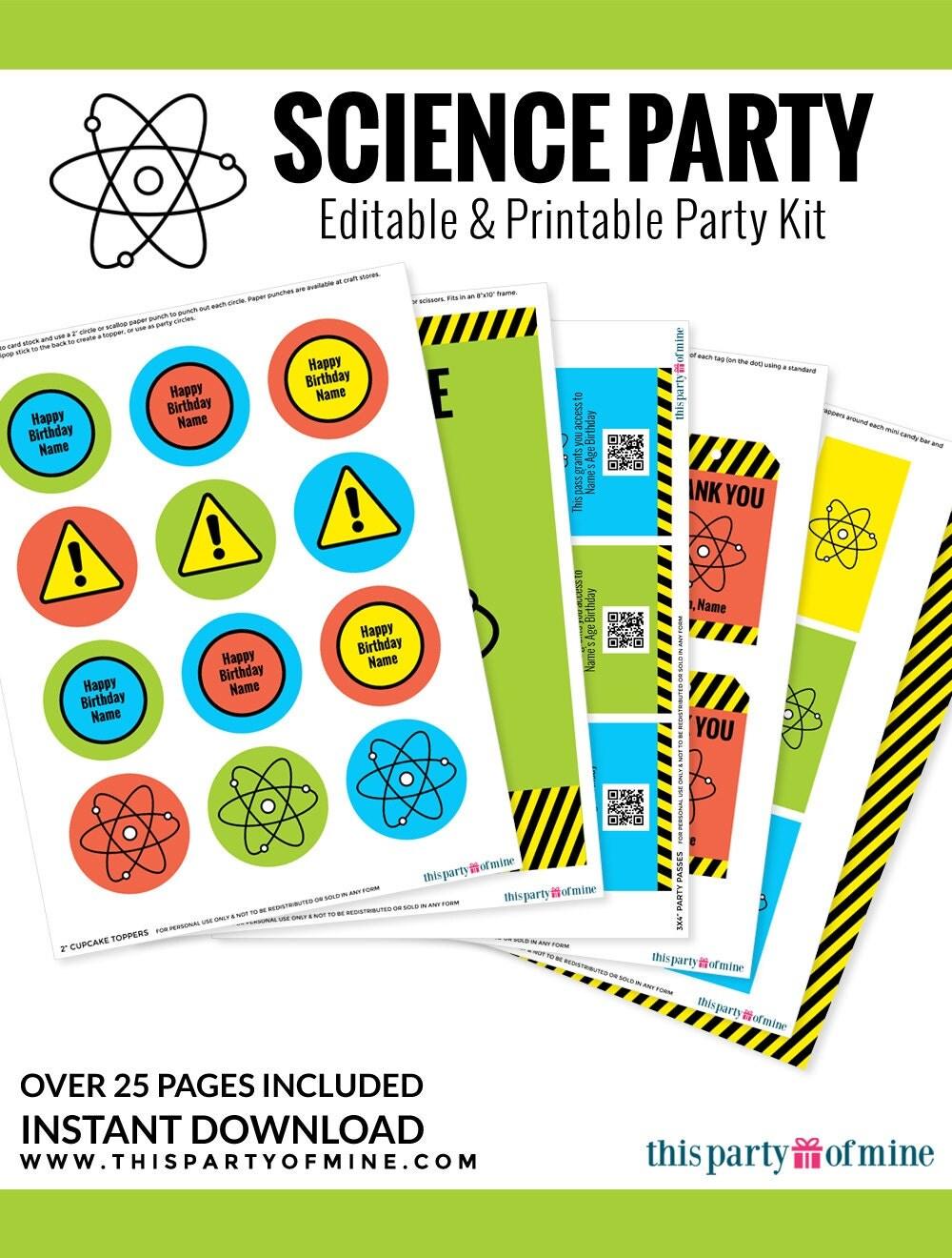 science party invitation decorations kit printable mad. Black Bedroom Furniture Sets. Home Design Ideas