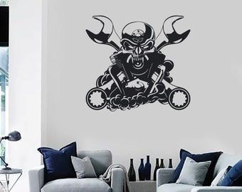 Wall Vinyl Decal Car Skull  Engine Steam punk Auto Repair Tools Decor for Garage Man Cave (#1029di)