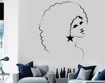 Wall Decal Sexy Disco Girl Woman Afro Hair Style Vinyl Sticker 1412dz