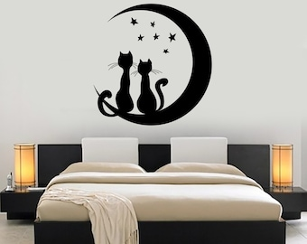 Wall Vinyl Moon Stars Cat Romantic Night Decor For Bedroom Mural Art 1478dz