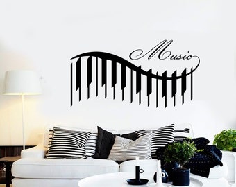 Wall Vinyl Music Piano Beautiful Songs Guaranteed Quality Decal Mural Art 1546dz