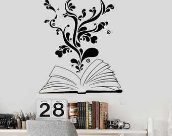 Wall Vinyl Decal Book Reading Flower Heart Romantic Teen Decor 2345di