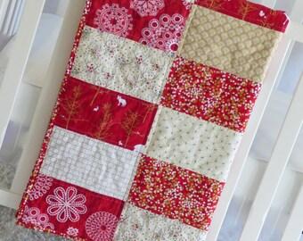 Red and Gold Deer Quilt, minky, modern, glitz, ivory, baby, baby girl, woodland, flowers, birch, toddler, nursery