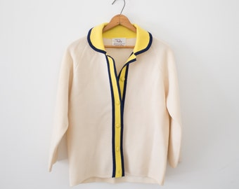 Off White Knit Cardigan / Button Up Sweater / Yellow Contrast Cardigan / Women's Vintage Clothing