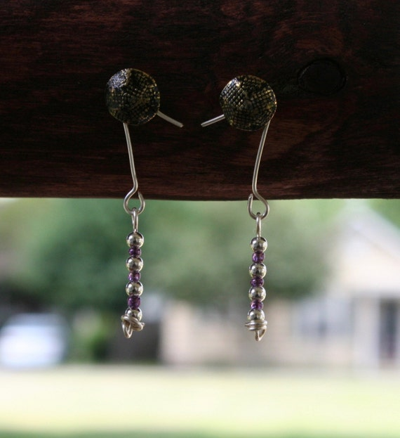 Sterling Silver and Purple Beaded Earrings
