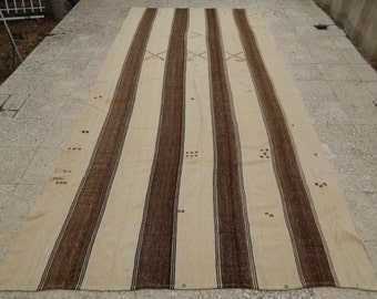 Vintage Turkish Striped Konya Flat Weave Kilim in cream & brown tones, Hand Woven with wool,Organic Undyed Kelim, 5'5'' X 11'8'' / 166x356cm