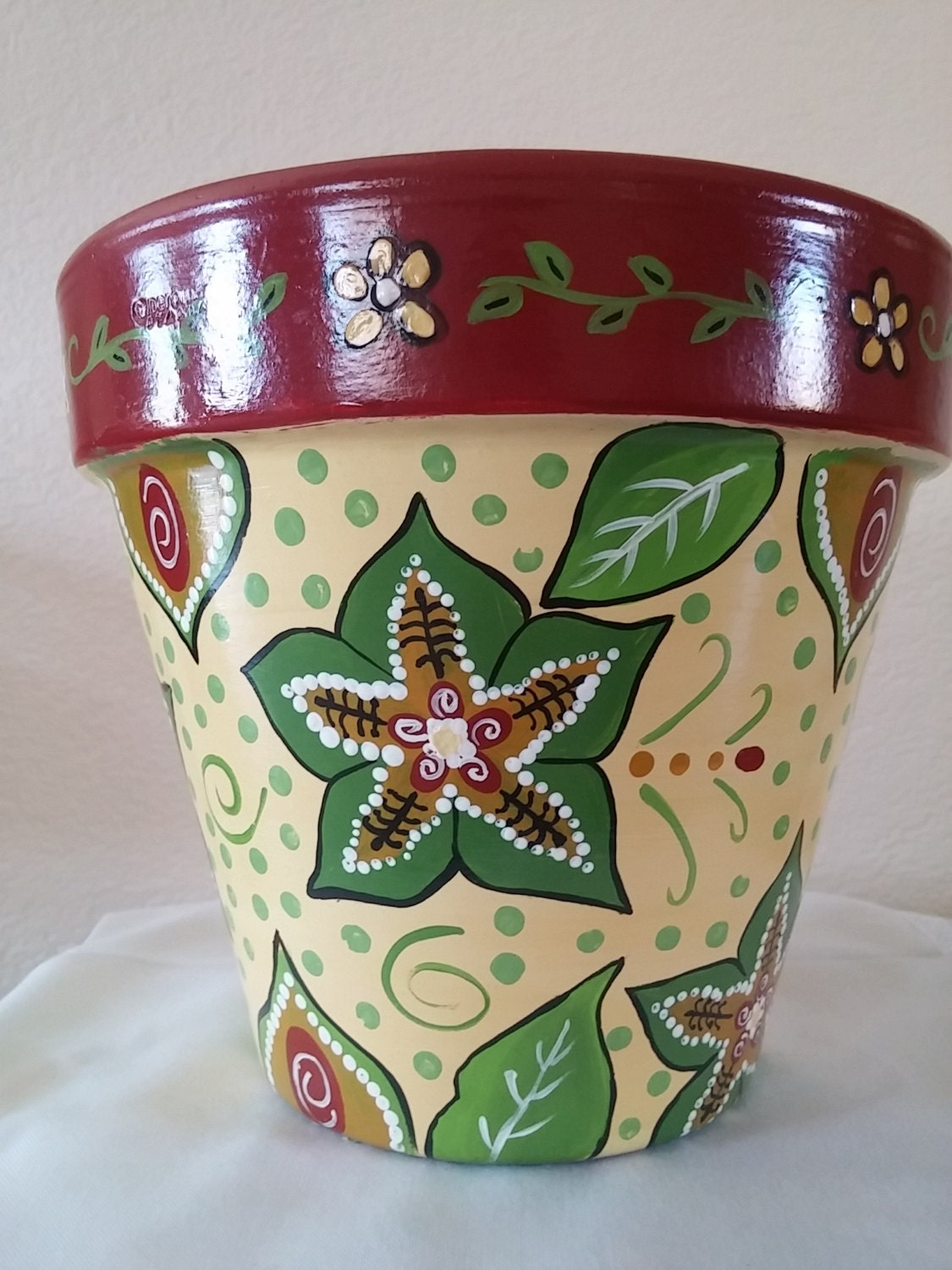 flower pot hand painted clay pot pottery italian clay pot. Black Bedroom Furniture Sets. Home Design Ideas