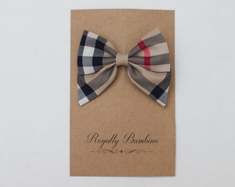 Mini Sailor Plaid Girl Baby Headband Or Clip Bow Choose Your Style Plaid Check