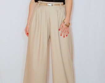 Wide leg linen pants Beige pants with pockets High waist pants