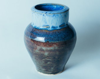 Blue Brown Ceramic Bud Vase