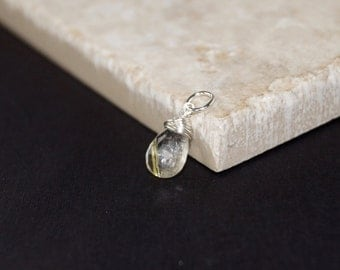 Golden Rutilated Quartz - Sterling Silver Wire Wrapped Dangle Pendant Charm - Genuine Gemstone Jewelry