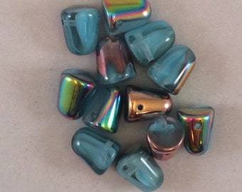 Gumdrop Beads, 7x10mm, Fountain Blue Vitrail, GDP10-C63030-28101, 6 Beads, Czech Glass