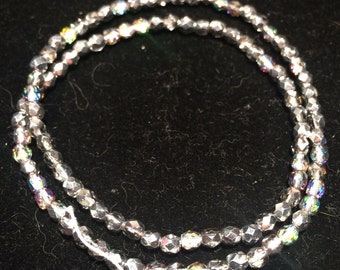 Preciosa Fire Polished Beads, 4mm, Crystal Vitrail Light, FPR04VL, 38 Beads, Czech Glass
