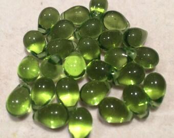 Large Tear Drop Beads, 9x6mm, Olivine, 106-96-5023, 25 Beads, Czech Glass