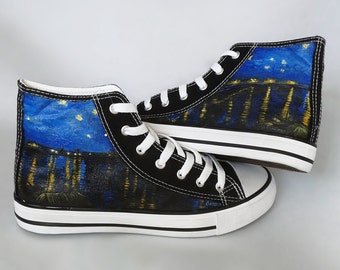 Painted sneakers: Starry Night Over the Rhone van Gogh theme, hand painted chucks, van Gogh shoes, hand painted shoes, painted converse