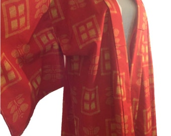 SALE vintage kimono full length clementine orange