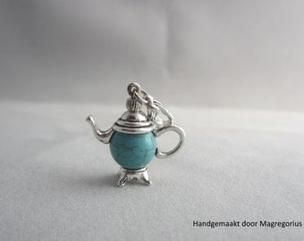Tibetan Silver Teapot Charm, Charm, Pendant Turquoise