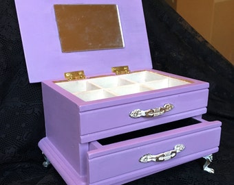 Lilac-Purple Shabby Chic Small Jewelry Box