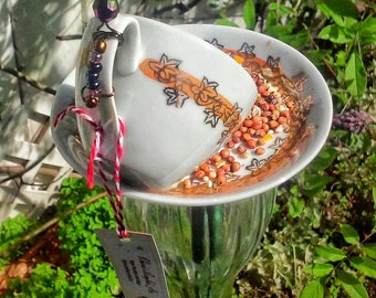 Tiny Teacup Caterpillar Bird Feeder Garden Art Totem Recycled Repurposed Upcycled Gift for Mom Grandmother
