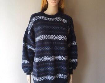 Oversized trui Alexander Julian kleuren multicolor stripe pullover checker breien katoenen jaren tachtig jaren negentig 80s jaren 1980 1990s 90s extra groot