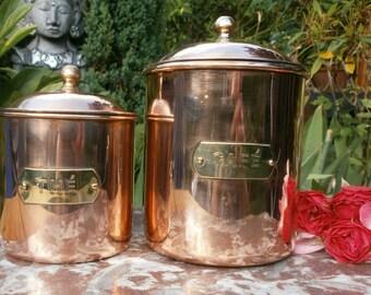 French Vintage Copper Spices Jars - Copper Vintage spice jars
