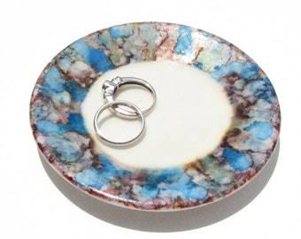 Alcohol Ink Ring Dish - Blues and Browns - Hand Painted Ring Dish - Gifts for Women - Unique Gift Ideas - Rare - One of a Kind - OOAK -