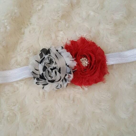 Firetruck hair clip or headband red white polka dot bling hair band