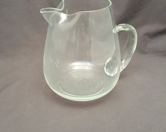 Vintage Glass Pitcher Bluish Tint Foggy