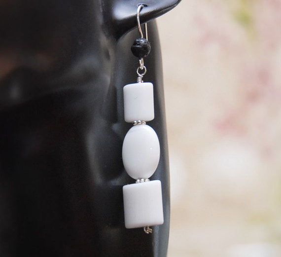 Lava Diffuser Earrings made of White Agate Beads. 3 Agate Geometric Shape Beads on Sterling Silver with Sterling Silver Ear Wires.