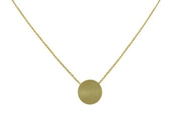 Disc pendant necklace, Silver necklace, Gold necklace, round pendant necklace, Short necklace, brushed disc necklace