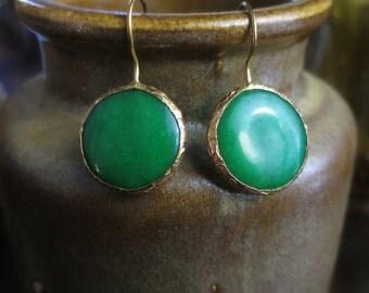 Green chalcedony Brass Earrings