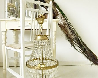 Beautiful antique basket chandelier from France... CHARMANT!