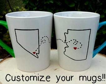Long distance relationship mugs. Best friend mugs. Set of two custom mugs. State/Country custom mug set