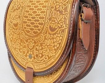 Crossbody bag Leather shoulder bag  Messenger bag Hot tooled bag Round stylish bag Leather bag Vintage shoulder bag Yellow purse Women's bag