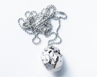 Porcelain necklace, porcelain jewelry, porcelain pendant, long silver necklace, nature necklace faux meteorite jewelry platinum jewelry N001