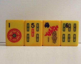 Set of 4 Bakelite Mahjong tiles, 1940s Mahjong tiles, Mahjong pieces, vintage mahjong tiles, 1940s game pieces, Mahjong charms, bakelite