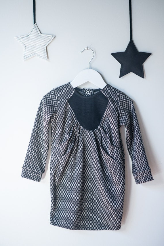 BELETTE - long sleeves dress with pleats at the front for kids - black with diamonds prints