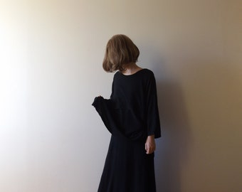 black avant garde rayon dress / design / long dress / modern / minimal