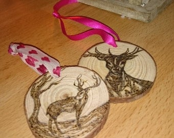 Stag Pyrography Log Slice Christmas tree ornaments