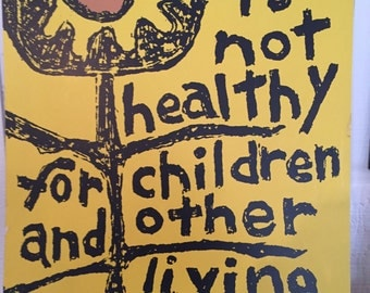 Iconic Original Anti-War Poster by Lorraine Schneider for Another Mother For Peace