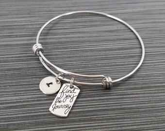 Find Joy in the Journey Bangle Bracelet- Charm Bracelet - Adjustable Bracelet Bangle - Inspirational Bracelet - Initial Bracelet