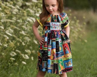 Back to School Dress Set, First Day of School Dress, Peasant Dress, Hair Bow, Girls Dress, Preschool, Kindergarten, Picture Day Dress