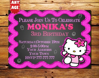 Hello Kitty Invitation, Hello Kitty Birthday,Hello Kitty Digital Invitation,Hello Kitty Invite,Hello Kitty Birthday Invitation, Kitty Party
