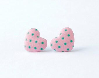 Choose from 6 colors! Pink heart earrings | Easter gift for girl | Pink earrings | Kids earrings for sensitive ears | Heart shaped earrings
