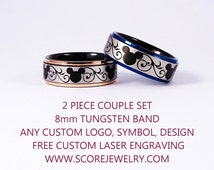 2 Piece Set Black Tungsten Bands with Blue & 14K Rose Gold Step Edge Mickey Mouse Design Pattern Rings - 8mm Tungsten Rings